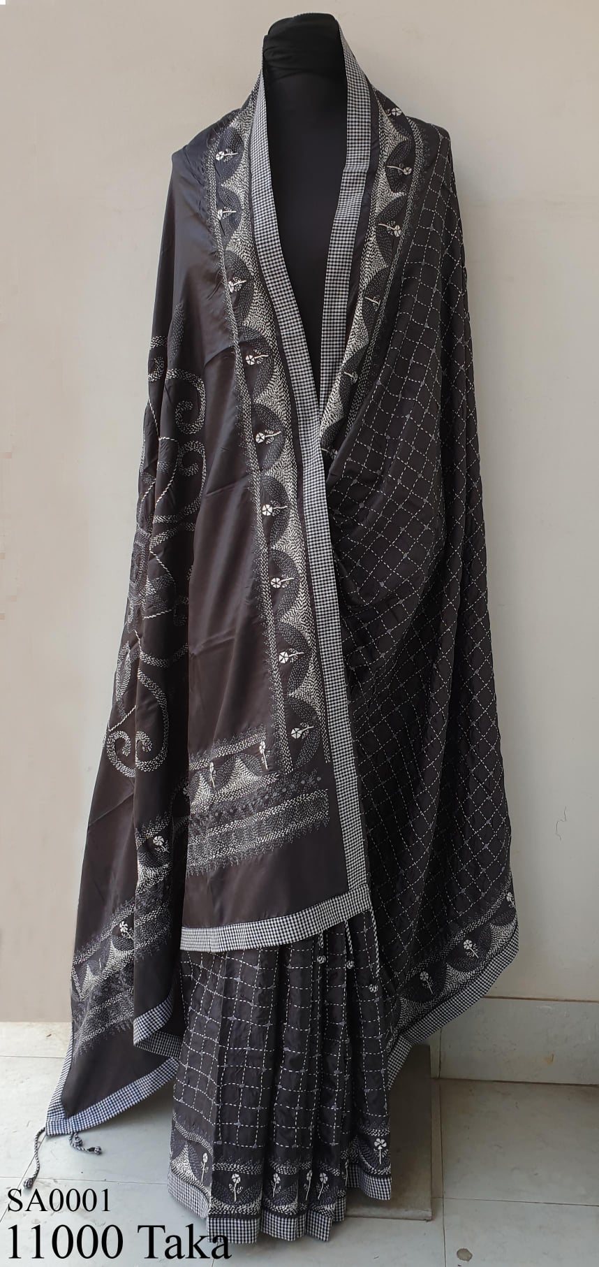 Hand Embroidery Silk Saree.