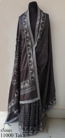 Hand Embroidery Silk Saree.