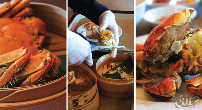 Steamed Hairy Crab with Shizo Leaf