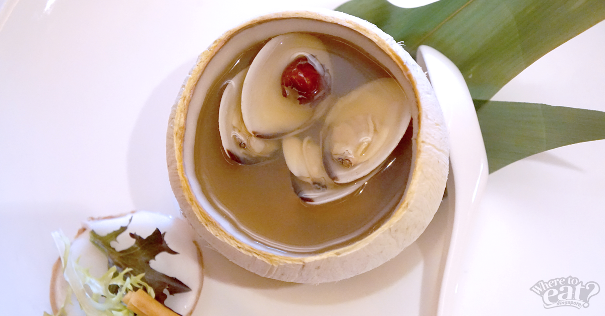 Double-boiled Chicken and Soup served in a Young Coconut and Crispy Breadstick