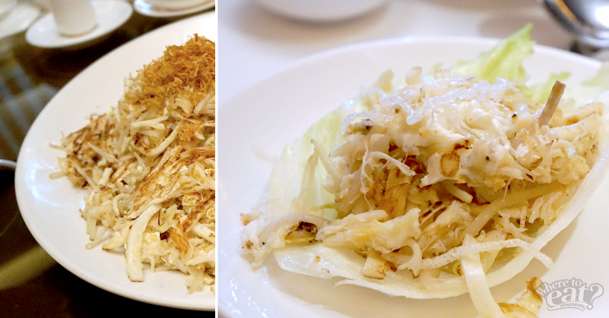 Pan-fried Crab Meat with Egg White and Bean Sprouts served with Lettuce