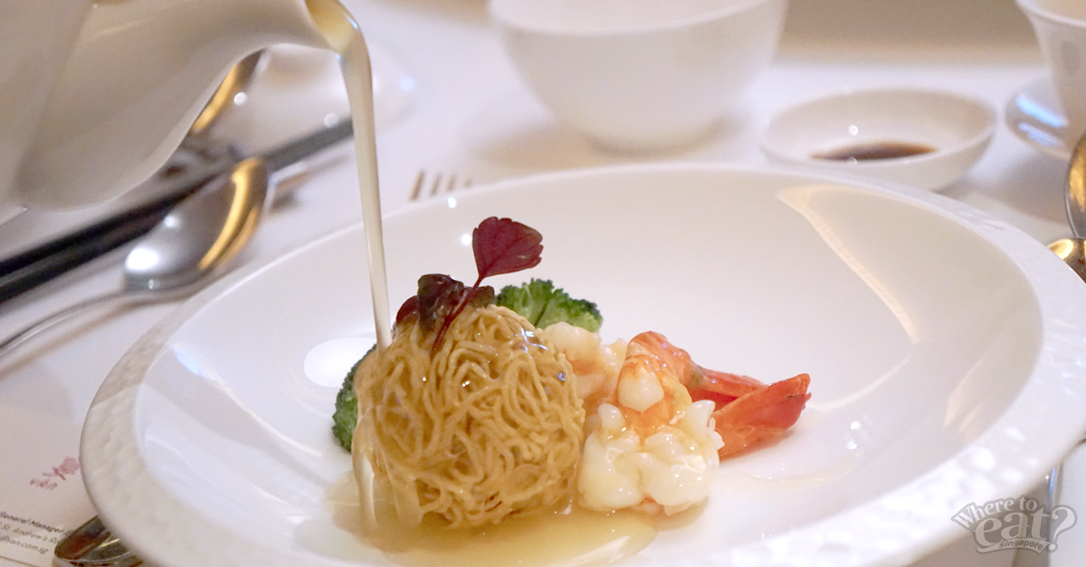 Fried Live Prawns with Crispy Noodle Ball