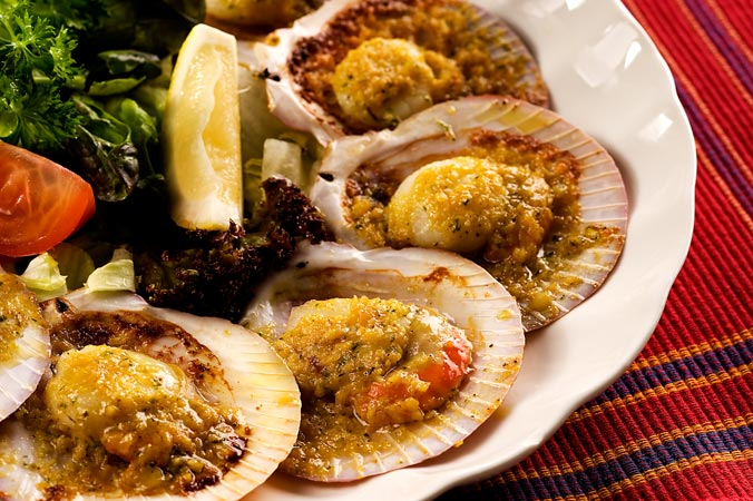 Baked Garlic Scallops (1/2 dozen)