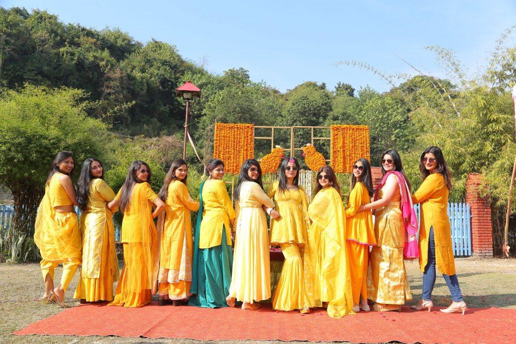 Haldi outfits of bride & bridesmaids