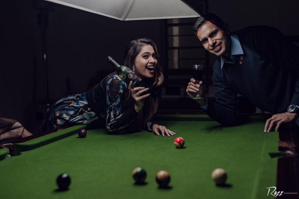 Pool Table Theme Pre Wedding Shoot Concepts
