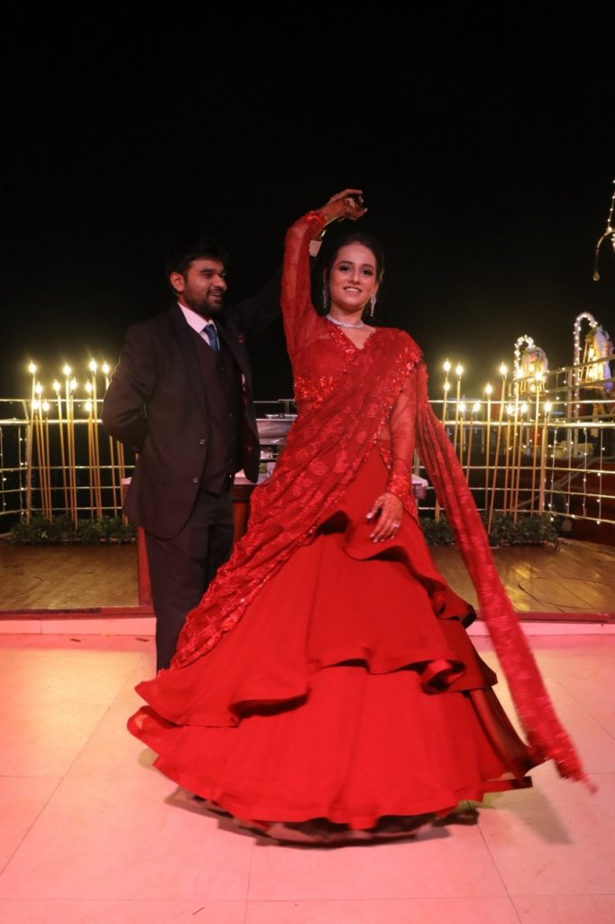 Indian bride & groom engagement outfits