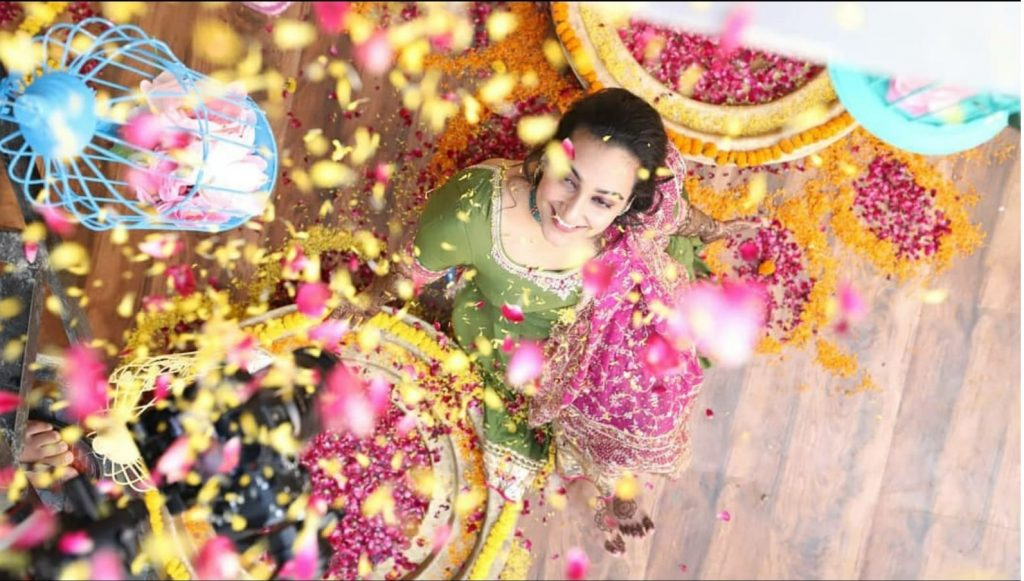 Mehendi Outfit Paired With Mother's Wedding Dupatta