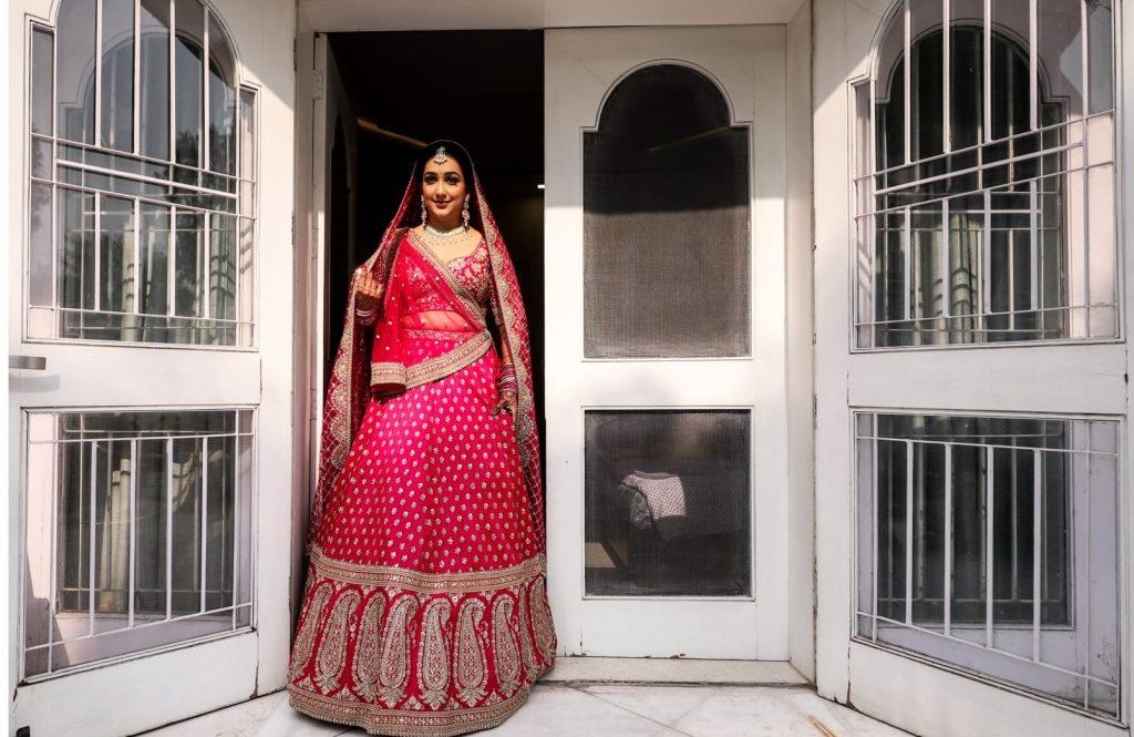 Minimalistic Sabyasachi bride in Pink Lehenga