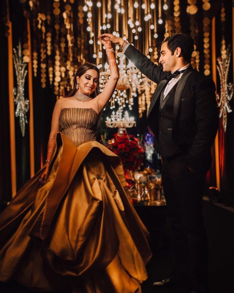 bride in golden gown