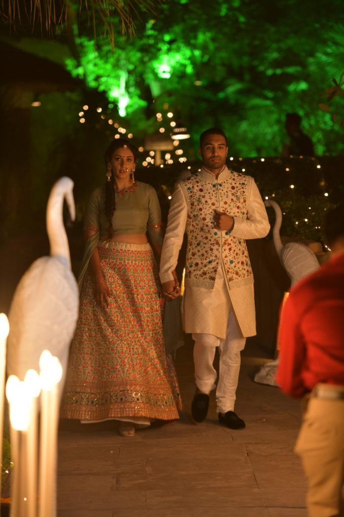 Indian Bride & groom entry for Mehendi ceremony