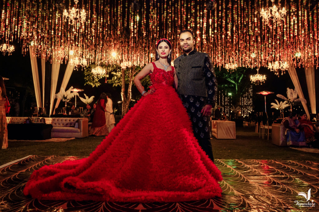 Bride in red gown