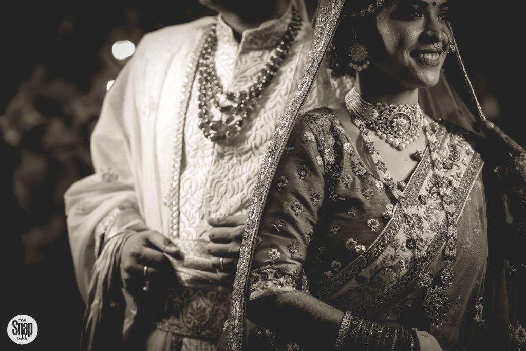 Indian bride & groom black & white portraits