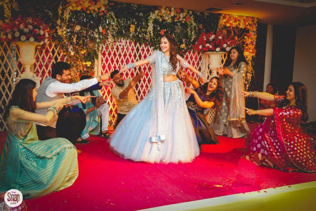 DElhi bride in blue lehenga for Sangeet ceremony