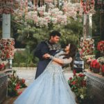 Delhi bride in sky blue lehenga for sagan & sangeet ceremony