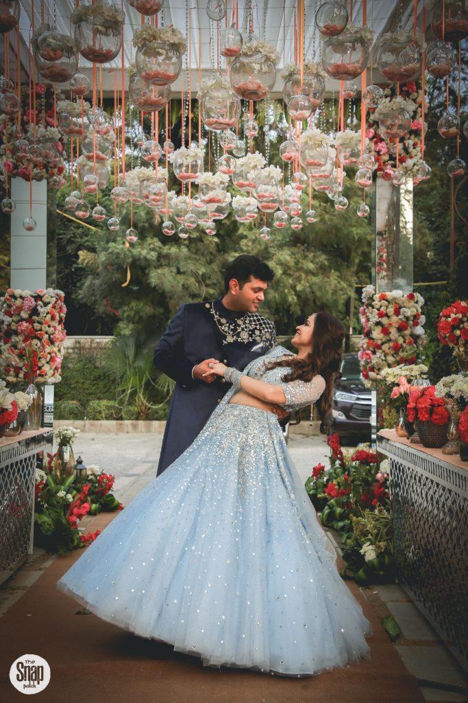 Delhi bride in sky blue lehenga for sagan & sangeet ceremony
