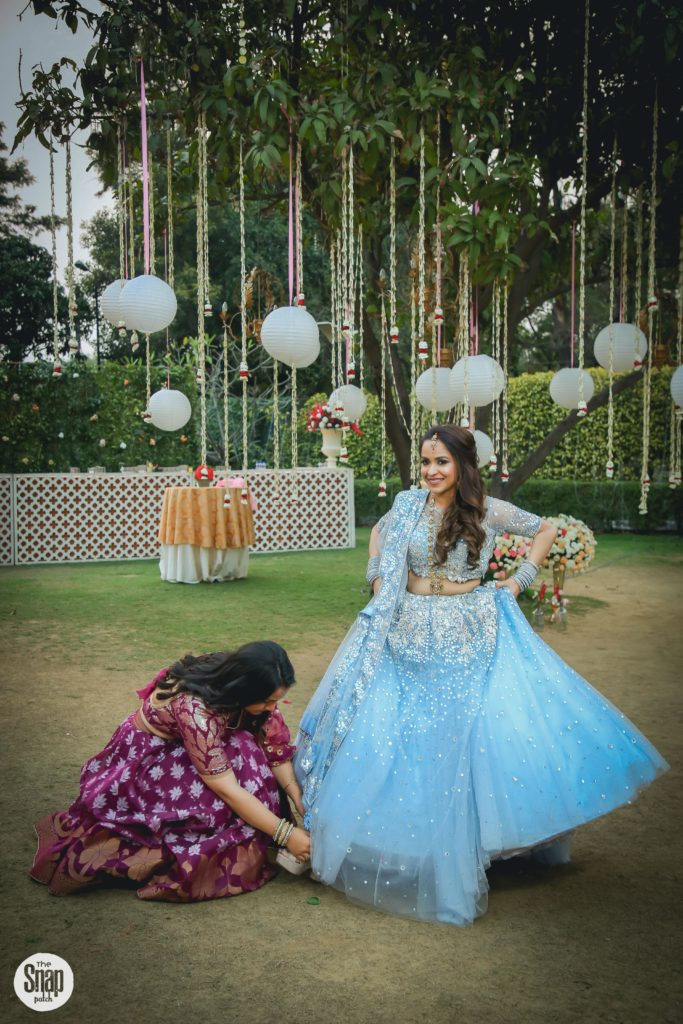 Delhi bride in blue lehenga for Sagan & Sangeet Ceremony