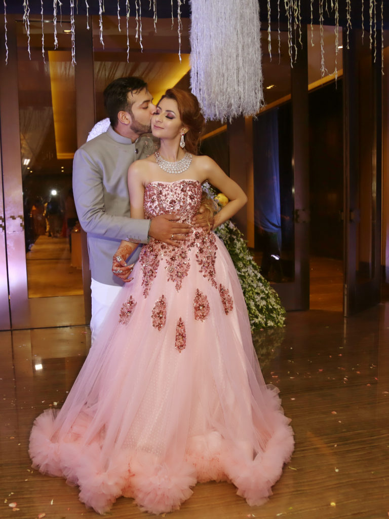 Bride in pink bridal gown