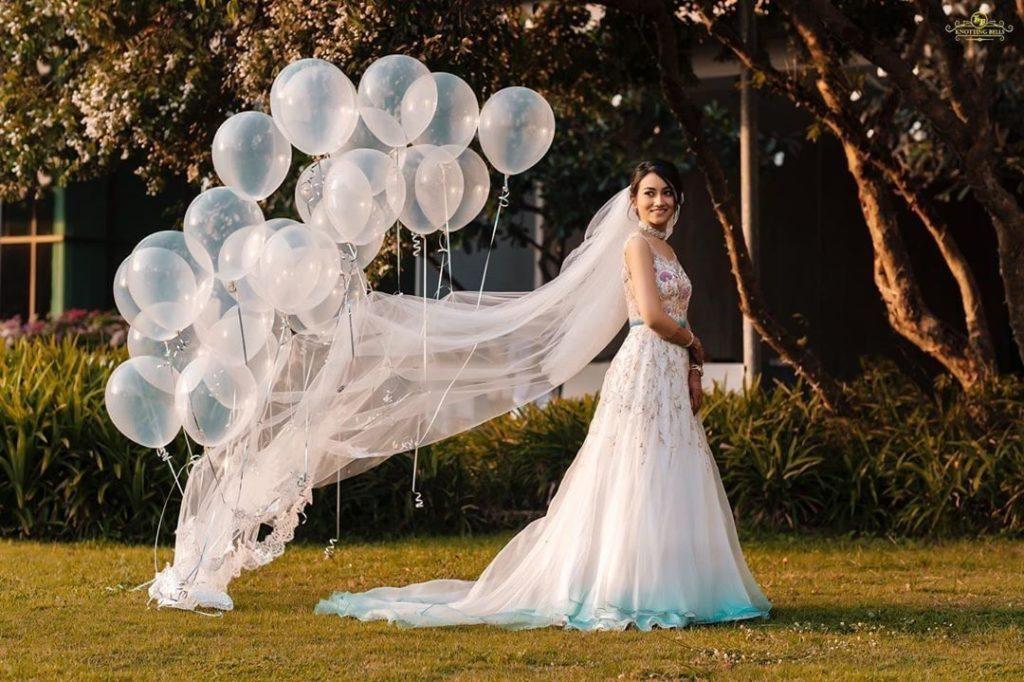 Bride in white wedding gown