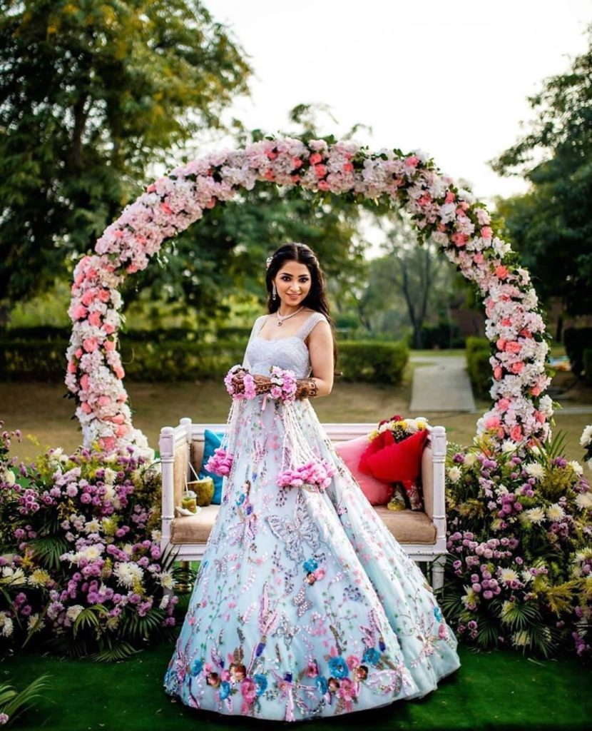 bride in blue gown for mehendi