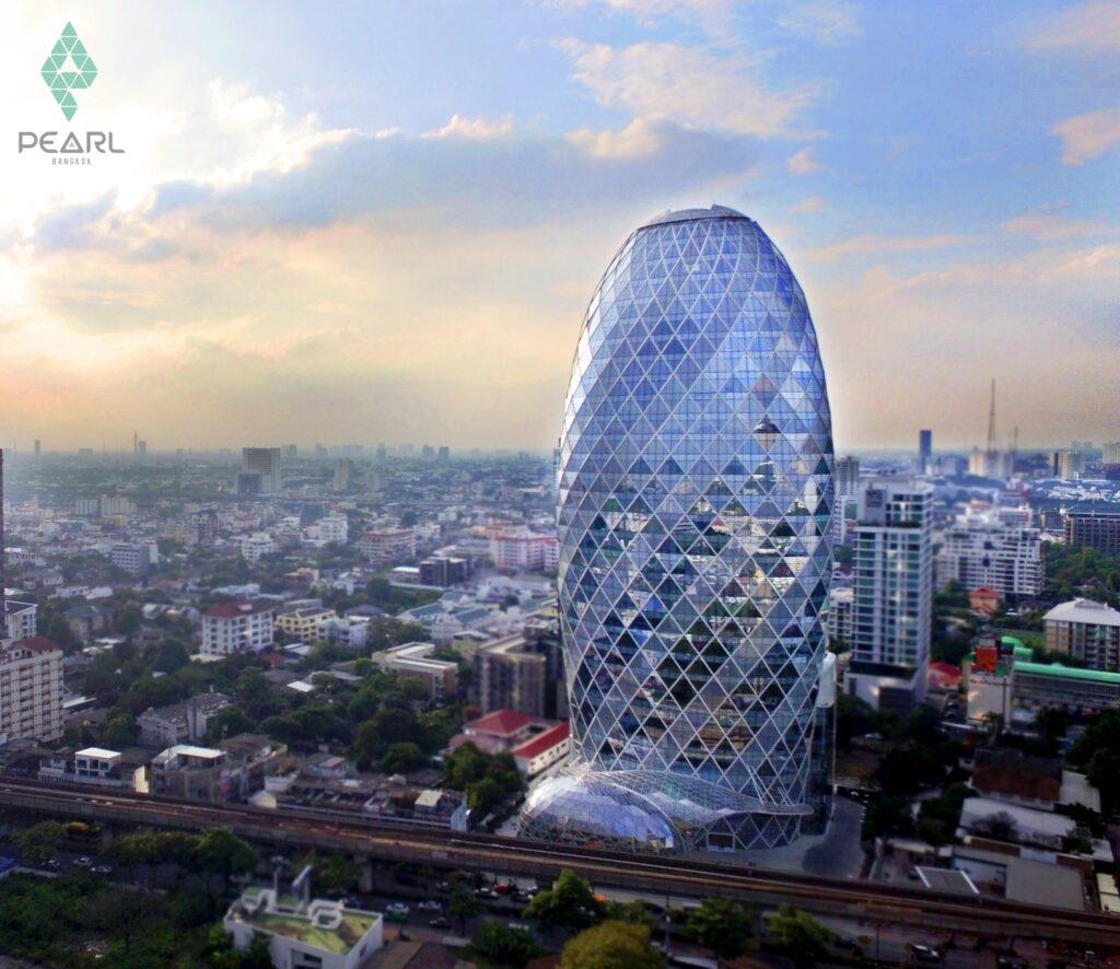 ความโดนเด่นของอาคารที่มองจากอีกฟากของเมืองก็รู้ว่าเป็น Pearl Bangkok