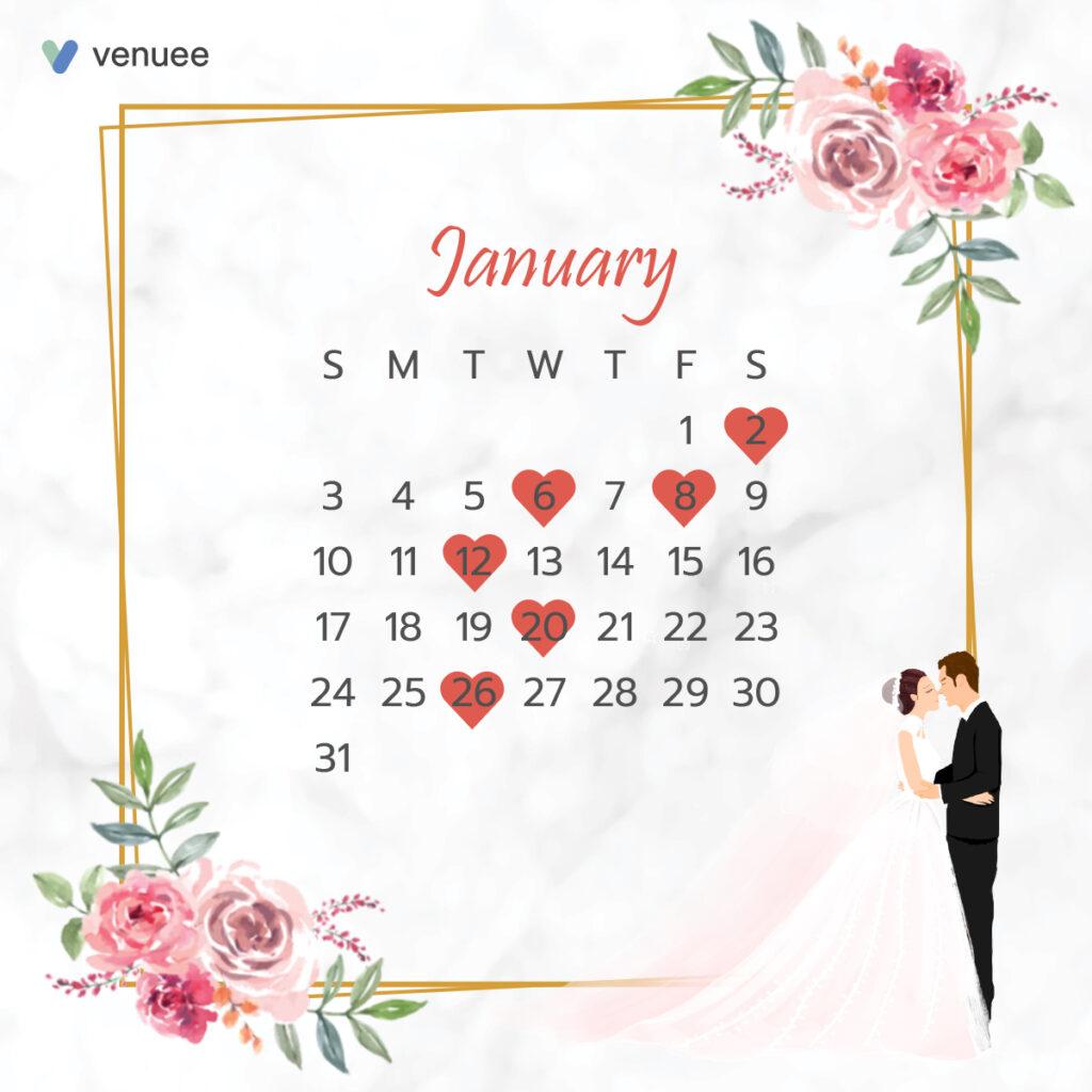 ฤกษ์แต่งงาน ฤกษ์จดทะเบียนสมรส ปี 2564 เดือน มกราคม