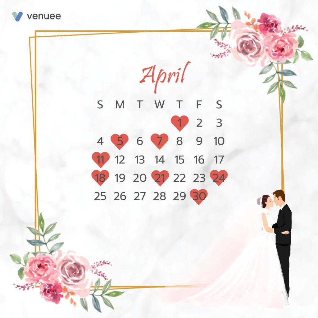 ฤกษ์แต่งงาน ฤกษ์จดทะเบียนสมรส ปี 2564 เดือน เมษายน