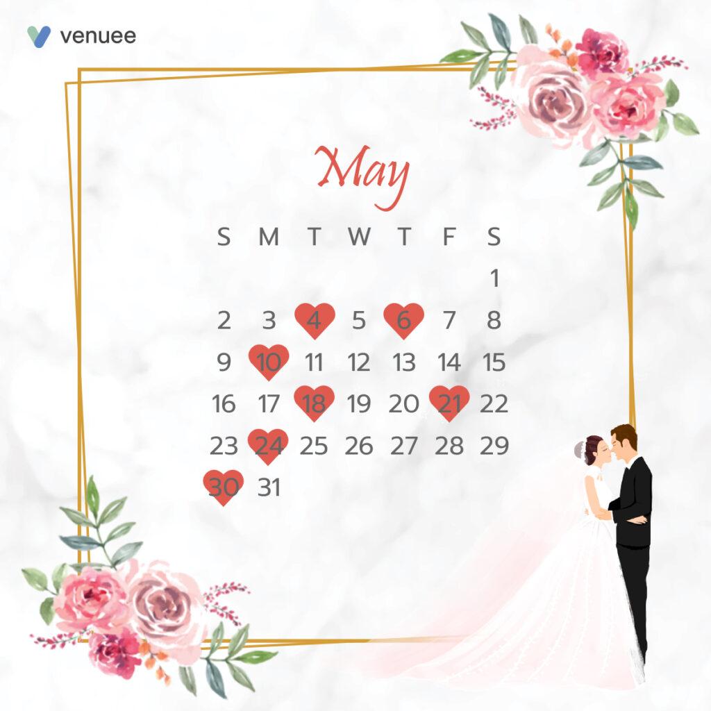 ฤกษ์แต่งงาน ฤกษ์จดทะเบียนสมรส ปี 2564 เดือน พฤษภาคม