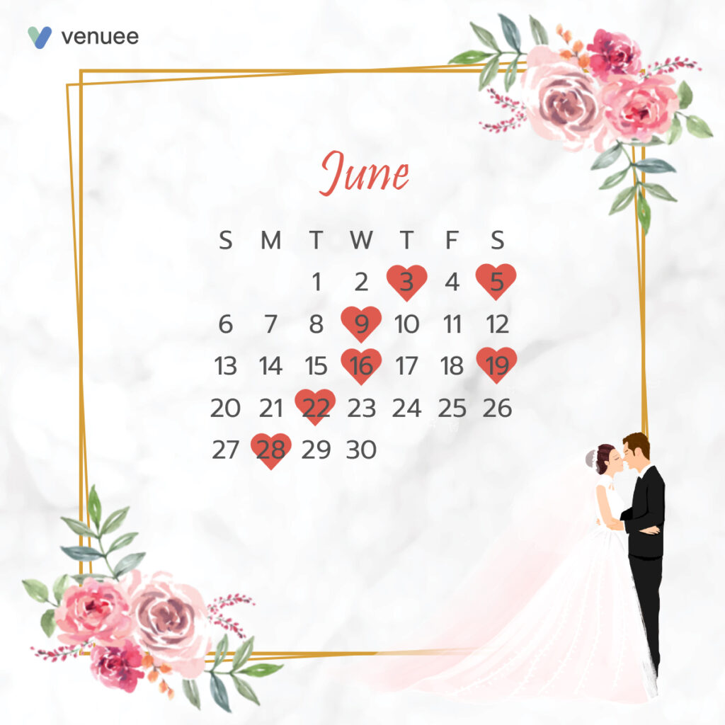 ฤกษ์แต่งงาน ฤกษ์จดทะเบียนสมรส ปี 2564 เดือน มิถุนายน
