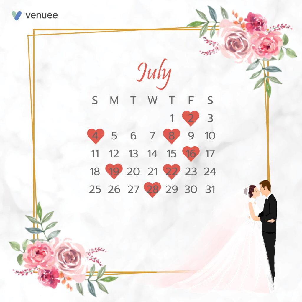 ฤกษ์แต่งงาน ฤกษ์จดทะเบียนสมรส ปี 2564 กรกฎาคม