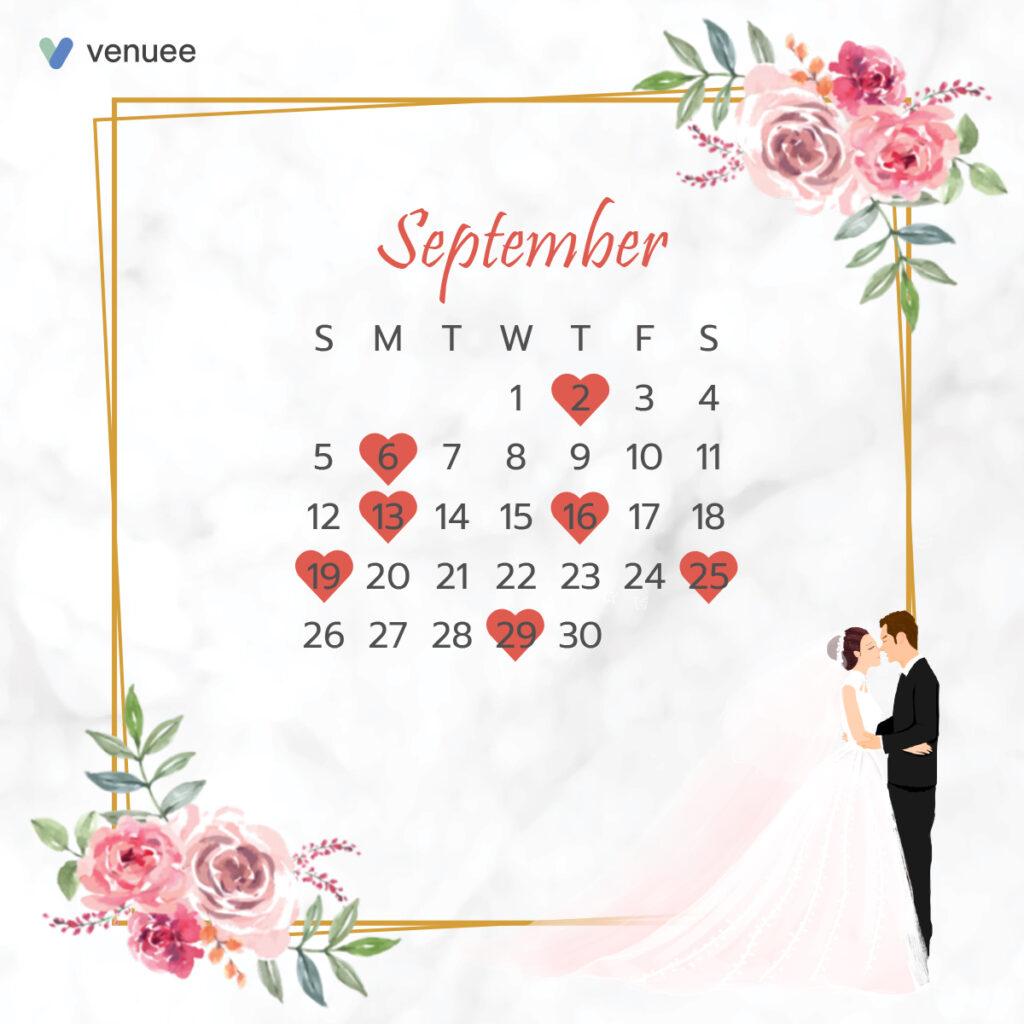 ฤกษ์แต่งงาน ฤกษ์จดทะเบียนสมรส ปี 2564 เดือน กันยายน