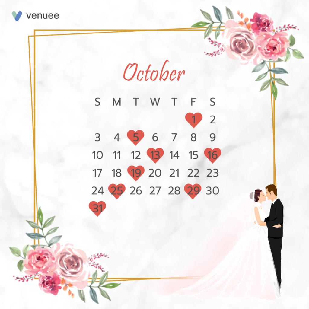 ฤกษ์แต่งงาน ฤกษ์จดทะเบียนสมรส ปี 2564 เดือน ตุลาคม