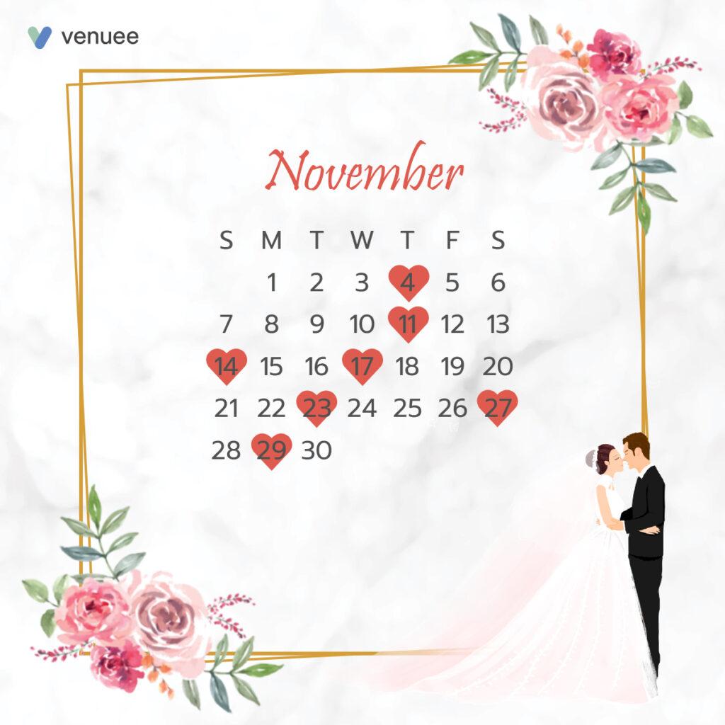 ฤกษ์แต่งงาน ฤกษ์จดทะเบียนสมรส ปี 2564 เดือน พฤศจิกายน
