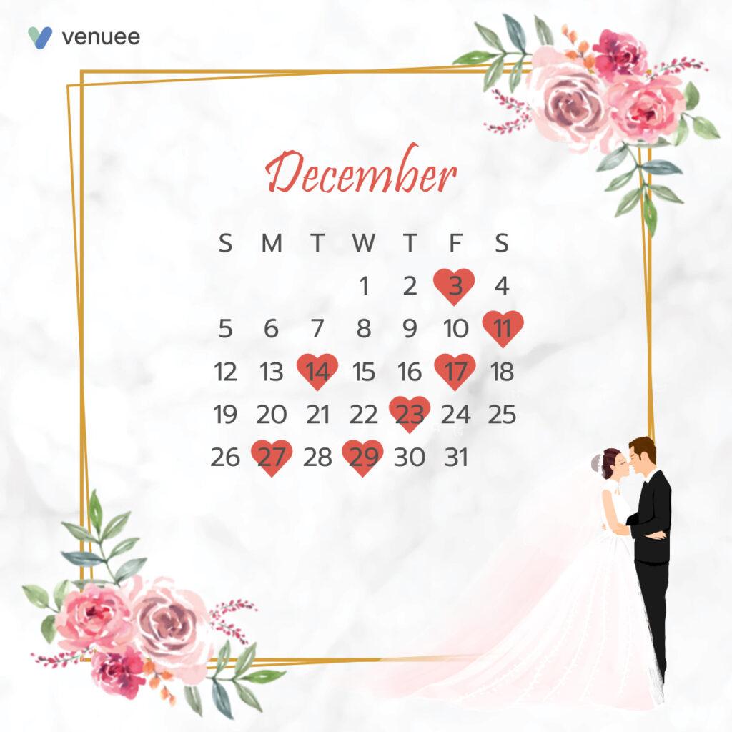 ฤกษ์แต่งงาน ฤกษ์จดทะเบียนสมรส ปี 2564 เดือน ธันวาคม