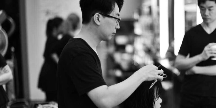 Black and white photo of Edward Kim, Korean hairstylist
