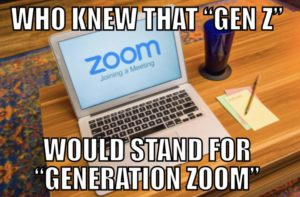 Meme picture of laptop computer with Zoom video conferencing software