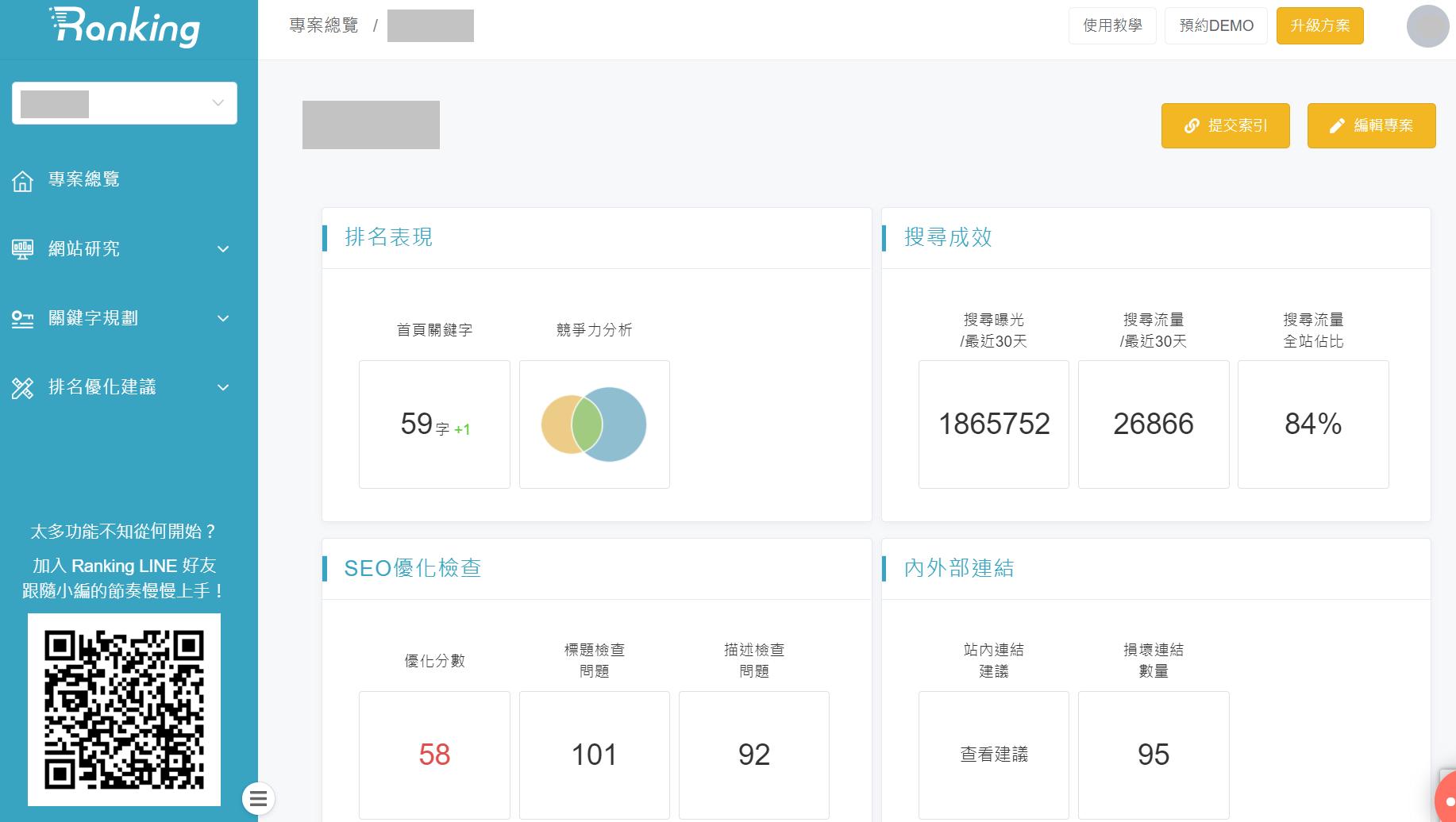 Ranking 軟體工具:網站排名追蹤