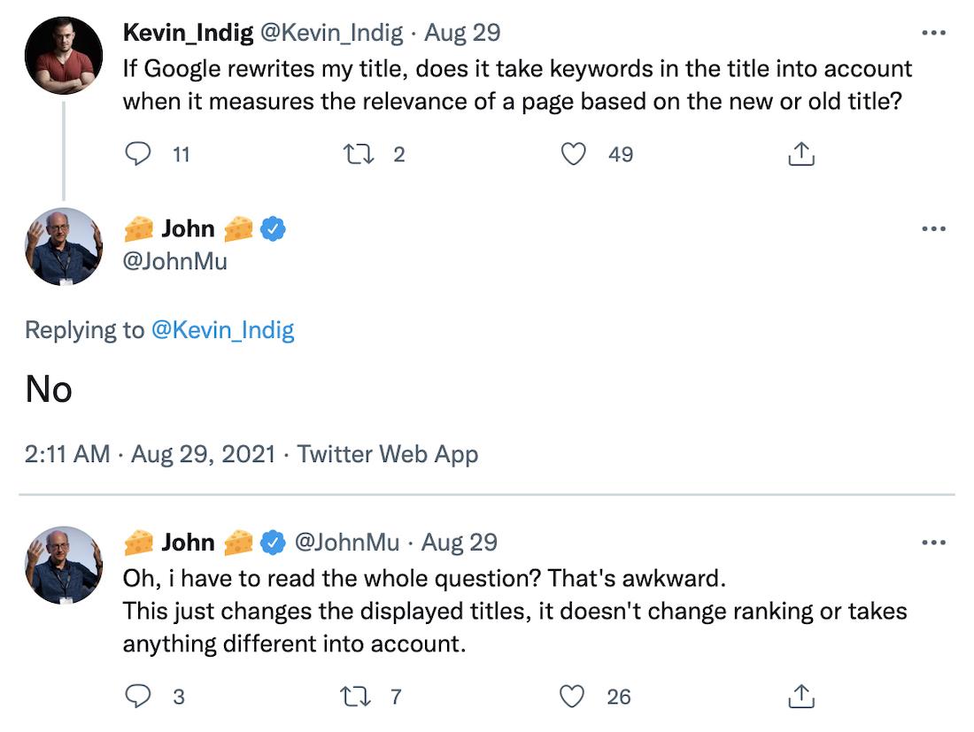 John Mueller對標題更新的回應
