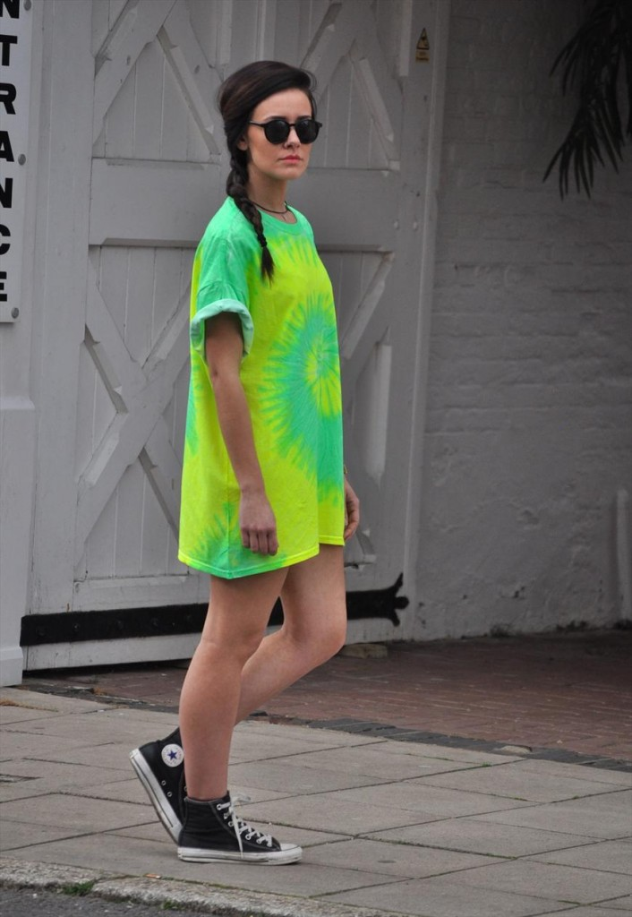 Oversized for Bright green t shirt dress