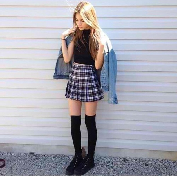 knqvf5-l-610x610-shirt-skirt-crop-denim+jacket-grunge-soft+grunge-hipster-plaid+skirt-knee+high+socks-black+shoes-jacket-shoes-socks