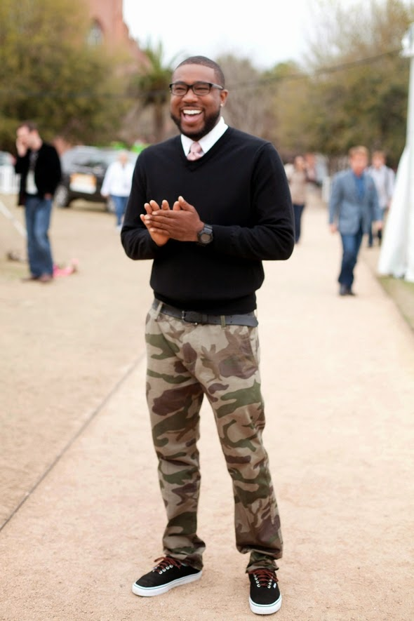 Robie DJ rDot Charleston camo pants sneakers sweaters and ties charleston fashion week street style southern style black men 590
