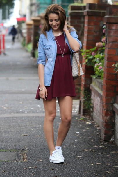 eq0jd4-l-610x610-dress-burgundy+dress-jean+shirts-white+sneakers