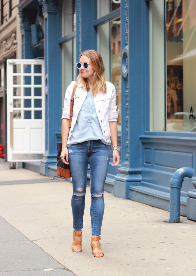 White_denim_jacket_Loft_Chambray_Shirt_Distressed_Denim_Soho_NYC_1