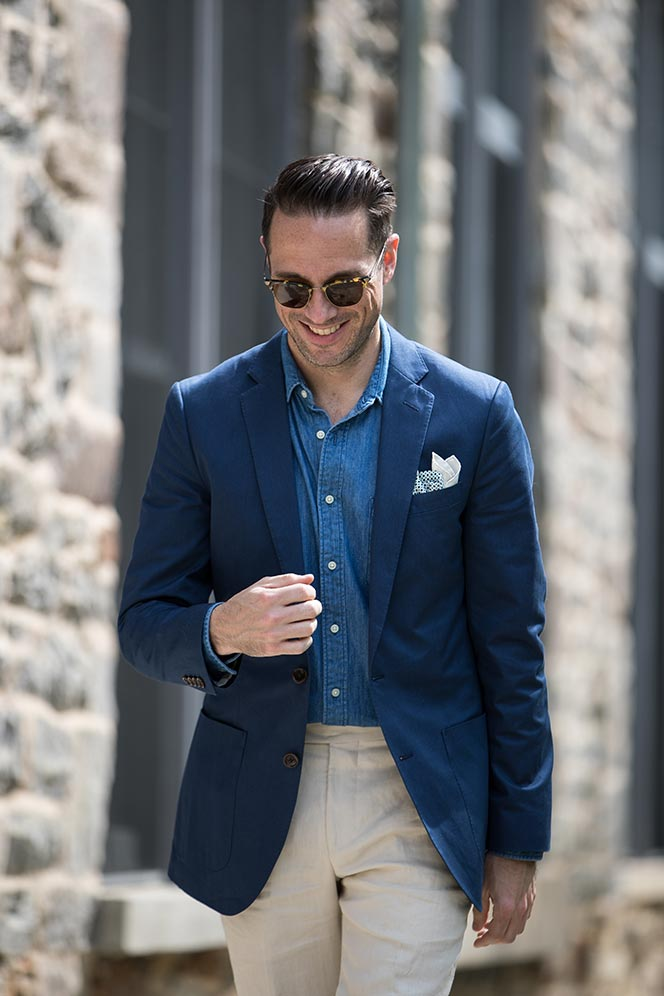 blue-cotton-blazer-denim-chambray-shirt-cream-linen-pants-loafers-sharp-casual-summer-memorial-day-outfit-idea-men-5