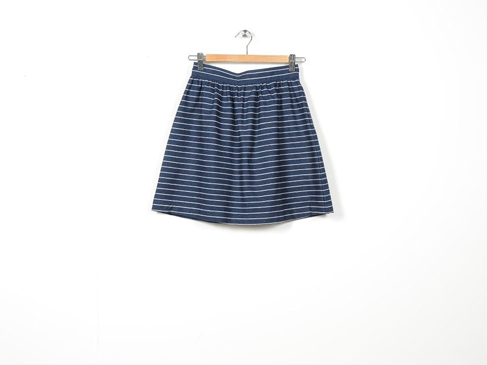 Denim Stripe Skirt Navy