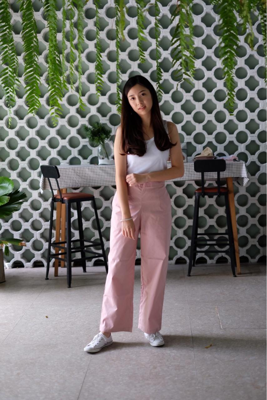 กางเกงขายาวสีชมพู
