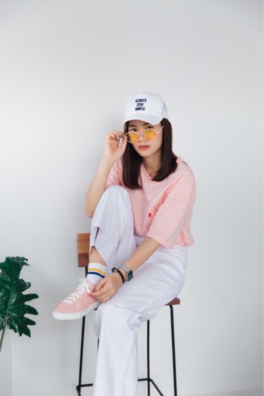 เสื้อยืดคอกลมแขนสั้น สีชมพู - 405 THB