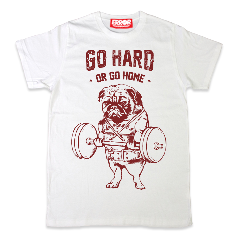 เสื้อยืดคอกลม - Go Hard or Go Home White : 590 THB - error clothing -