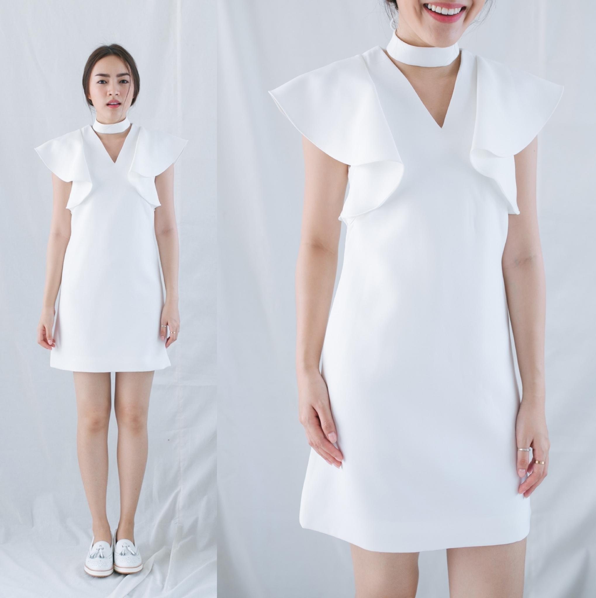 ชุดไปงานแต่ง เดรสสีขาว_1