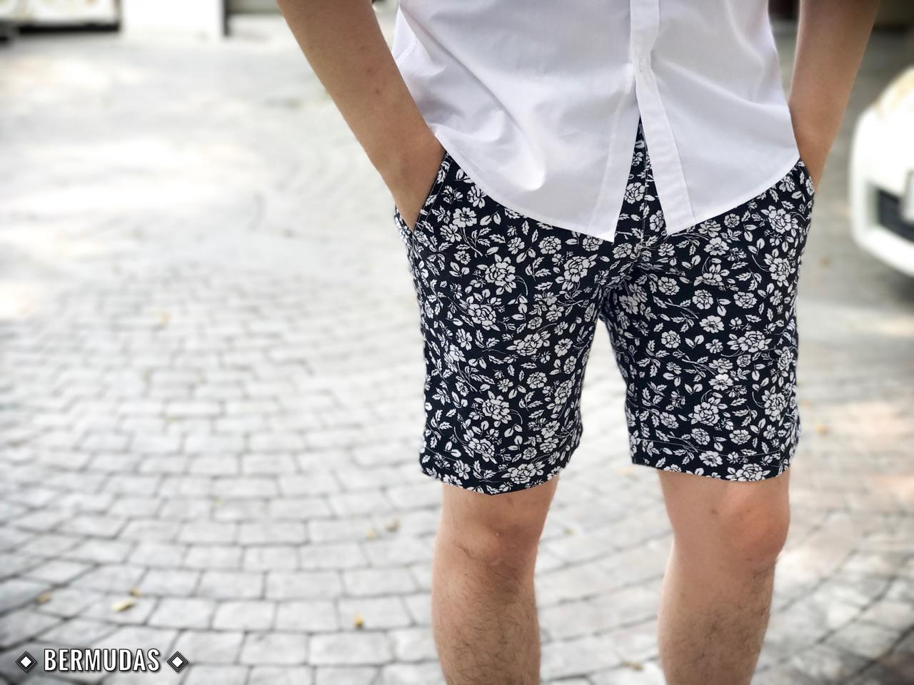 กางเกงขาสั้นผู้ชายลายดอก