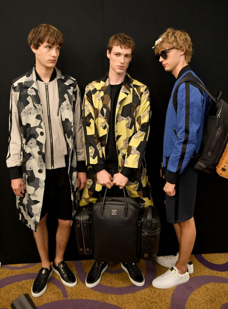 LONDON, ENGLAND - JUNE 11: Models backstage for the MCM x Christopher Raeburn SS17 show at Grand Connaught Rooms on June 11, 2016 in London, England. (Photo by Ian Gavan/Getty Images for Christopher Raeburn)